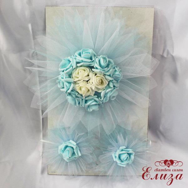 Сватбена украса за кола с рози в светло синьо E10